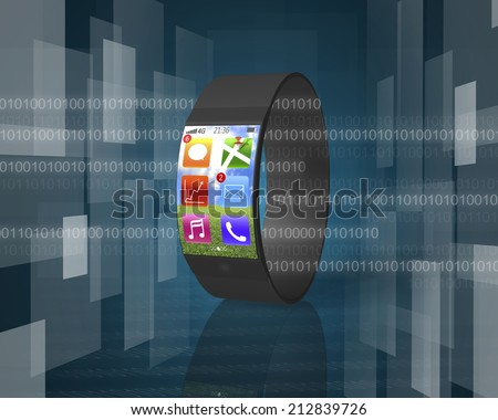 ultra-thin curved-screen smartwatch on tech-digital background with apps of line, map, trend chart, e-mail, music, phone - stock photo
