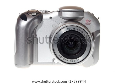 Ultra zoom silverl Digital photo camera - stock photo