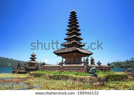 Ulun danu temple beratan  lake in Bali Indonesia - stock photo