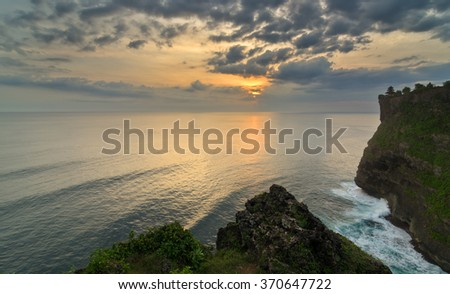 Uluwatu Temple on Bali Island during Sunset.