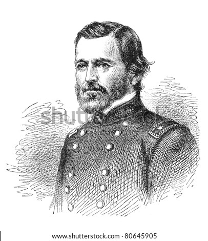 Ulysses S. Grant, a union general in the American Civil War. Later he become President. Illustration from The Leisure Hour magazine june 1864. - stock photo