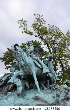 Ulysses S. Grant Cavalry Memorial at US Capitol Hill in Washington DC  - stock photo