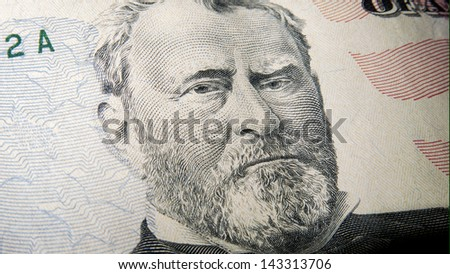 Ulysses S. Grant - Macro image of a $50 Bill