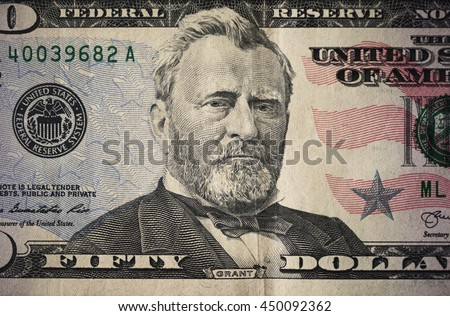 Ulysses S. Grant on a US fifty dollar bill - stock photo