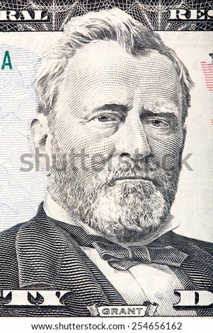 Ulysses S. Grant on the fifty dollar bill. - stock photo