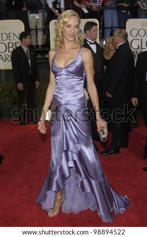 UMA THURMAN at the 61st Annual Golden Globe Awards at the Beverly Hilton Hotel, Beverly Hills, CA. January 25, 2004 - stock photo