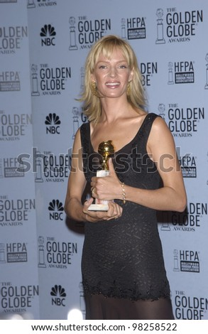 UMA THURMAN at the 60th Annual Golden Globe Awards at the Beverly Hills Hilton. 19JAN2003.  Paul Smith / Featureflash - stock photo