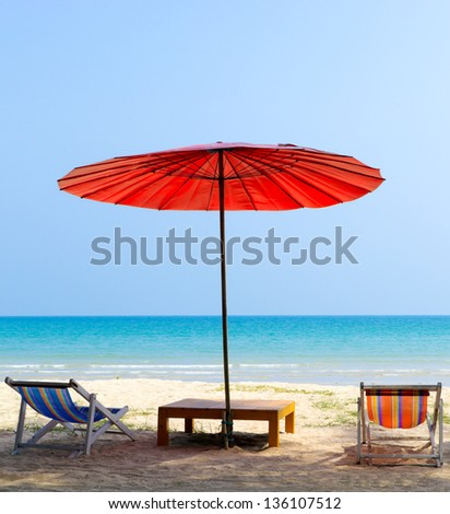 Umbrella and  beach chair on the tropical beach ,Trat Province  Thailand