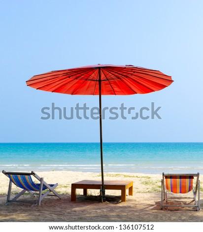Umbrella and  beach chair on the tropical beach ,Trat Province  Thailand - stock photo