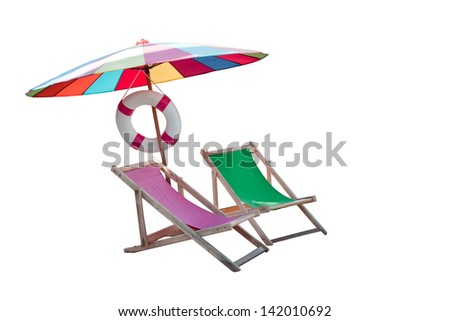 umbrella and couples wood chairs beach isolated white for summer and sea beach location topic - stock photo