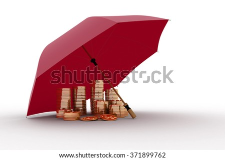 Umbrella and money. Protection of finance - stock photo