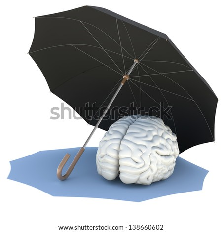 Umbrella covers the brain. Isolated render on a white background - stock photo
