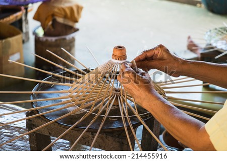 Umbrella making vintage style in Chiang mai, Thailand - stock photo