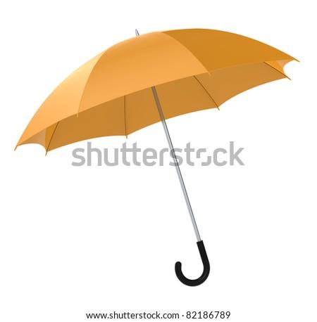 Umbrella. Orange Umbrella on white background. Isolated - stock photo