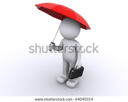 umbrella protection concept. isolated on white - stock photo