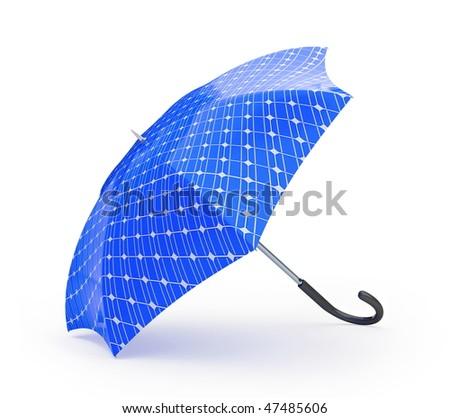 umbrella solar panel - stock photo