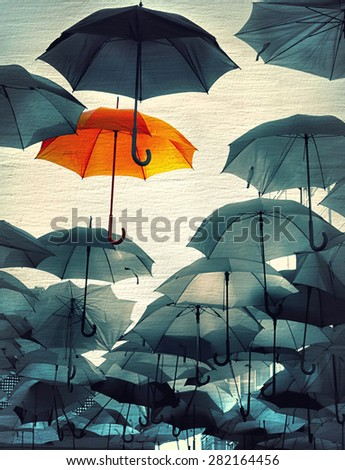 umbrella standing out from the crowd vintage effect be proud photo - stock photo