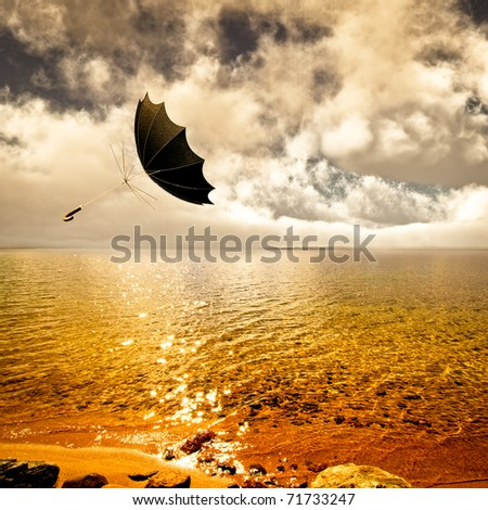 Umbrella turned inside out flys through the air on a summer breeze passing over a wilderness lake sparkling in golden sunlight. Past sky and clouds with fog on the horizon.  Original illustration - stock photo