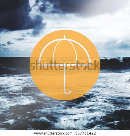 Umbrella Weather Protection Environment Shielding Concept - stock photo