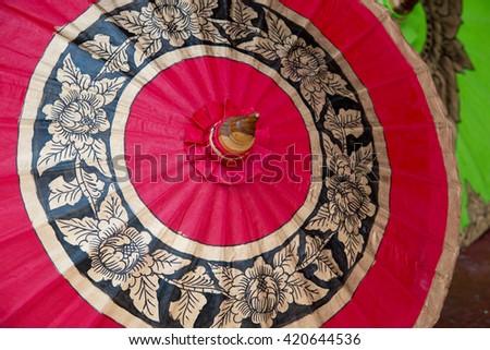 Umbrellas in the market of Bo Sang village, Sankamphaeng, Chiang Mai, Thailand - stock photo