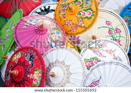 Umbrellas in the market of Chiang Mai, Thailand - stock photo