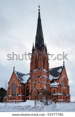 Umea City Church in winter overcast day, Sweden