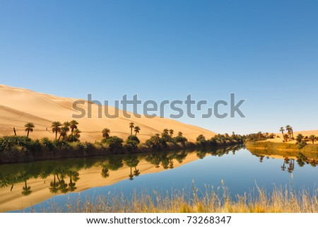 Umm al-Ma Lake - Idyllic oasis in the Awbari Sand Sea, Sahara Desert, Libya - stock photo