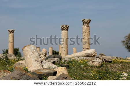 UMM QAIS (UMM QAYS), JORDAN- APRIL 05, 2014: Roman ruins at Umm Qais (Umm Qays) --is a town in northern Jordan near the site of the ancient town of Gadara.  - stock photo