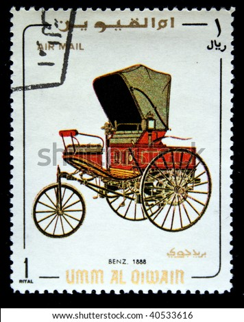 UMM QIWAIN- CIRCA 1968: A stamp printed in one of the emirates in the United Arab Emirates shows vintage car Benz - 1888 year,full series - 48 of stamps, circa 1968 - stock photo