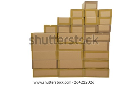 Un coated, stacked boxes in brown, on white background. - stock photo