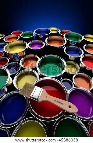 Un montón de latas de pintura de colores y amplio ángulo - stock photo