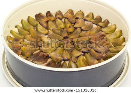 Unbaked cake with plums in springform pan - stock photo