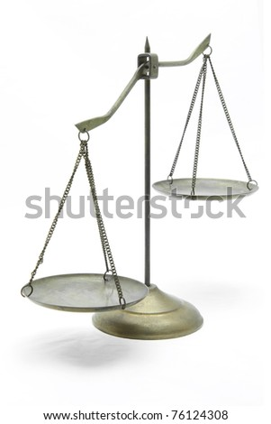 unbalance of golden brass scales of justice on white front perspective - stock photo