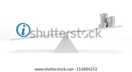 Unbalance scale, money and information - stock photo