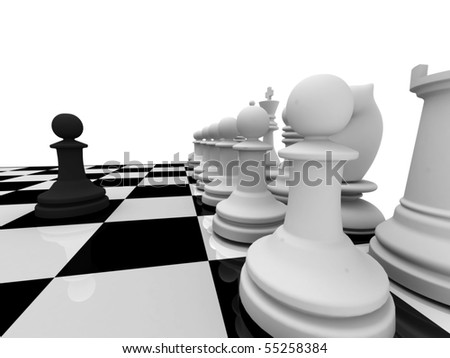 Unbalanced. Black pawn versus white chessman on chessboard isolated on white background.  High quality 3d render. - stock photo