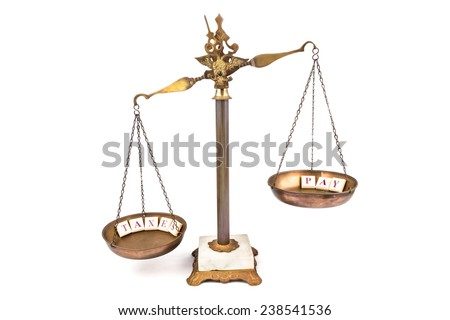 Unbalanced scale, expenses more than income. - stock photo
