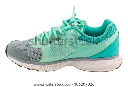 unbranded running shoe, sneaker or trainer on white background - stock photo