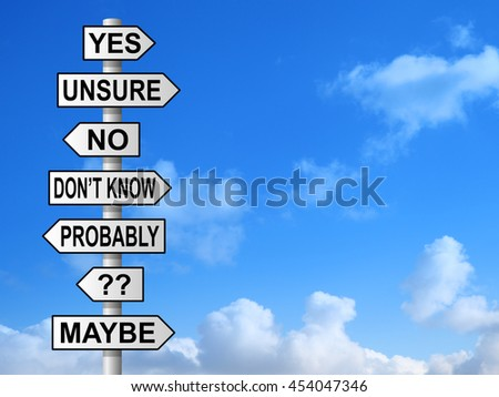 Uncertain questions and choices on signpost against blue sky
