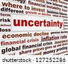 Uncertainty financial creative message design. Risky business investment conceptual poster - stock photo