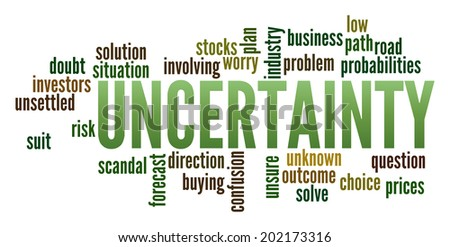 Uncertainty in word collage - stock photo