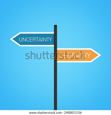 Uncertainty vs certainty choice road sign concept, flat design - stock photo