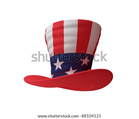 Uncle's Sam hat. 3d rendered. Isolated on white. - stock photo