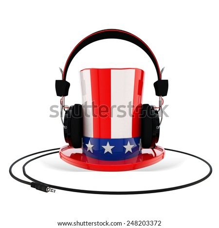 Uncle Sam Hat with Headphones - stock photo