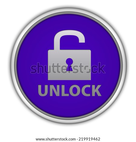 Unclock circular icon on white background