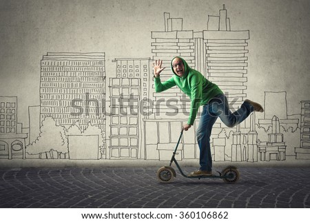 Unconventional means of transport - stock photo