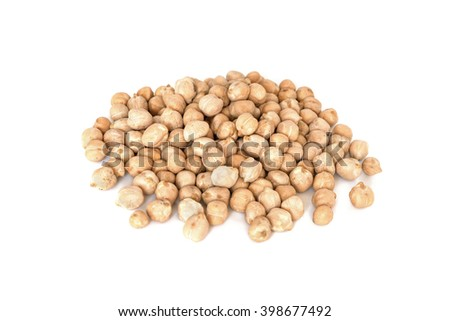 Uncooked chickpeas beans isolated on white background - stock photo