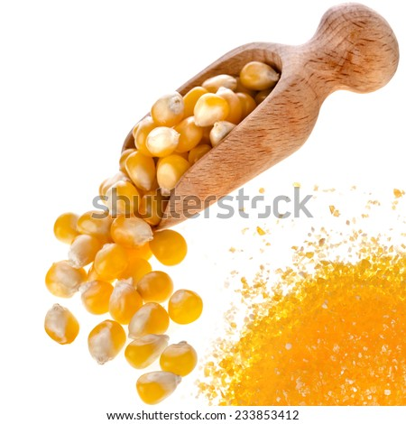Uncooked cornmeal maize flour heap and spoon scoop isolated on white background - stock photo