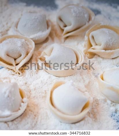 Uncooked homemade pelmeni lies on a flour - stock photo