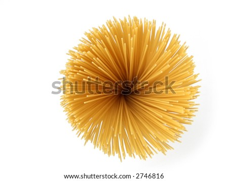 Uncooked spaghetti pasta reminding a sunflower, isolated on white background - stock photo
