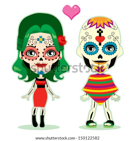 Undead couple in love celebrating the mexican dia de los muertos in traditional costume - stock photo